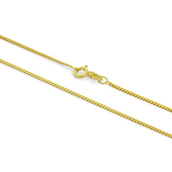 Gold Plated Sterling Silver 1mm Curb Chain 16 - 24 Inches
