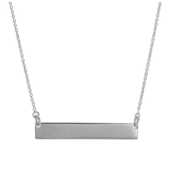 Sterling Silver 16 Inch Necklace with Engravable Bar