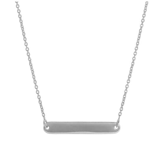 Sterling Silver 17 Inch Necklace with Engravable Bar