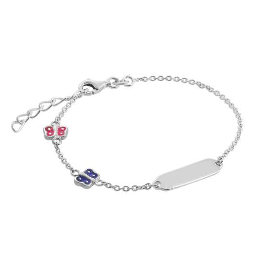 Sterling Silver & Coloured Enamel Butterflies Ladies ID Bracelet 7 Inches