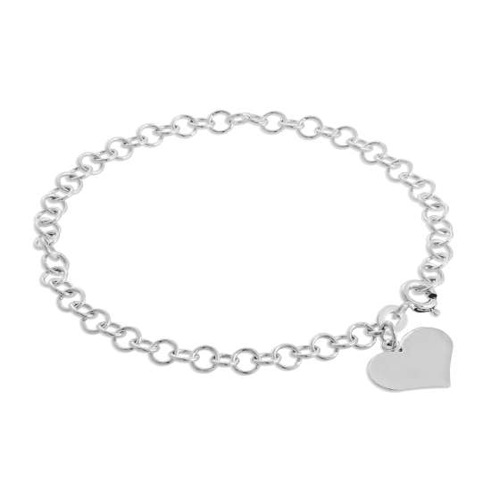 Sterling Silver 4mm Curb Cable Bracelet with Engravable Heart Charm 7 Inches