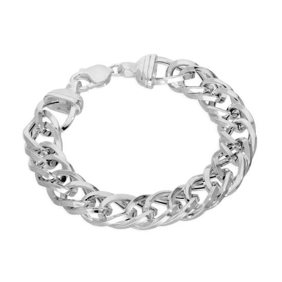 Sterling Silver Thick Heavy 13mm Double Curb Mens Bracelet 8 Inches