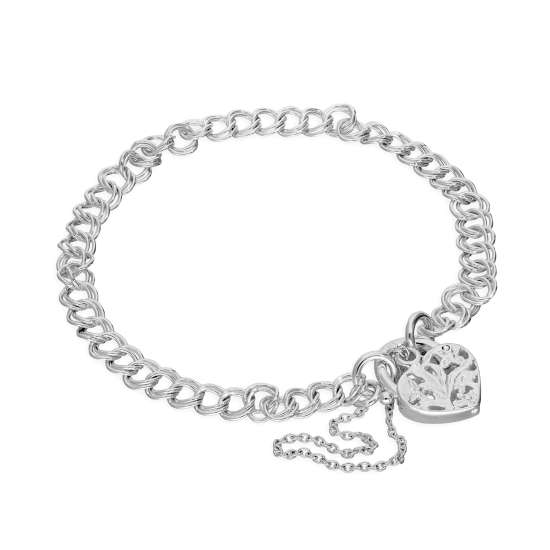 Sterling Silver Double Curb Chain Charm Bracelet with Heart Padlock 6 Inches - 8 Inches