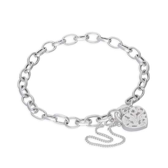 Sterling Silver Belcher Chain Charm Bracelet with Heart Padlock 6 Inches - 8 Inches