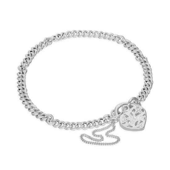 Sterling Silver Curb Chain Charm Bracelet with Heart Padlock 6 Inches - 8 Inches