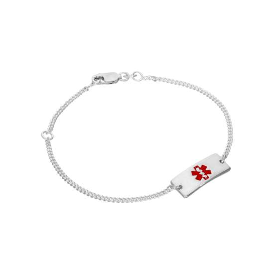 Sterling Silver Womens 7 Inch Medical Alert ID Bracelet with Rectangular Engravable Plate