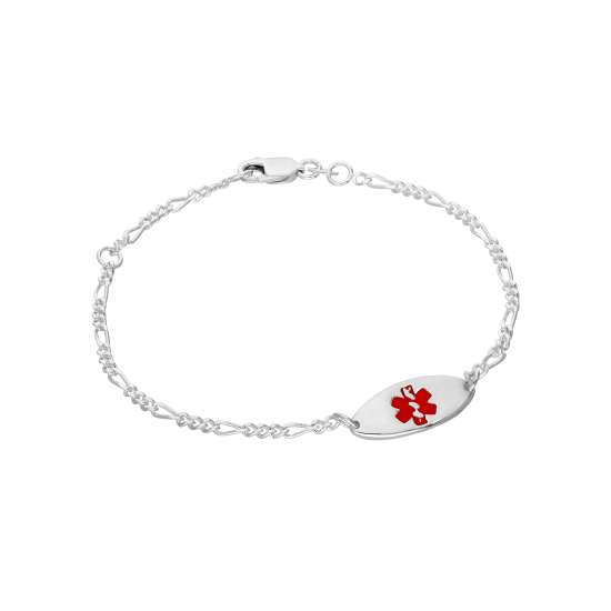 Sterling Silver Womens 7 Inch Medical Alert ID Bracelet with Oval Engravable Plate