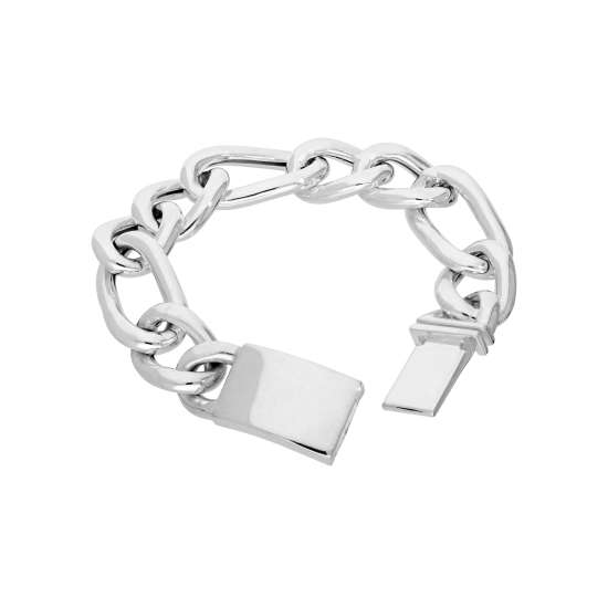 Sterling Silver Mens Thick Heavy 8 Inch Hollow Chain Bracelet w Engravable Clasp