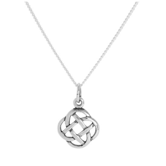 Sterling Silver Round Celtic Knot Pendant Necklace 16 - 24 Inches