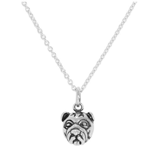 Sterling Silver 3D Bulldog Head Pendant Necklace 16 - 24 Inches