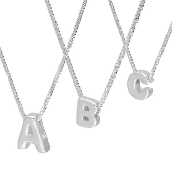 Sterling Silver Alphabet Letter Threader Bead 18 Inch Necklace A - Z