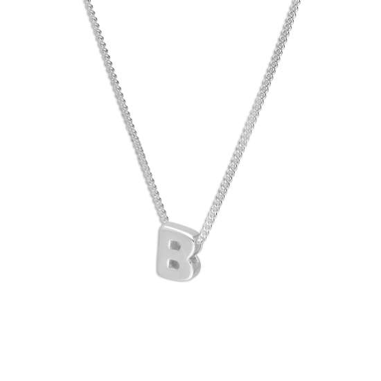Sterling Silver Alphabet Letter Threader Bead 16+2 Inch Necklace B
