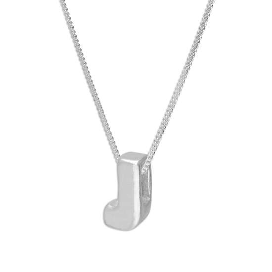 Sterling Silver Alphabet Letter Threader Bead 16+2 Inch Necklace J