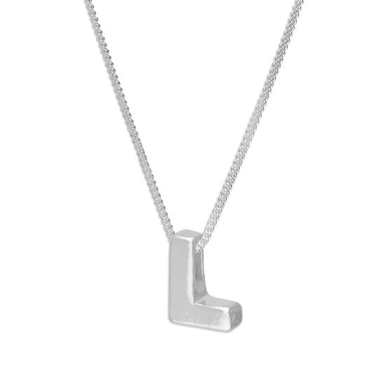 Sterling Silver Alphabet Letter Threader Bead 16+2 Inch Necklace L
