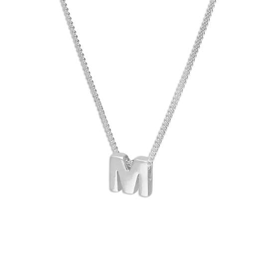 Sterling Silver Alphabet Letter Threader Bead 16+2 Inch Necklace M