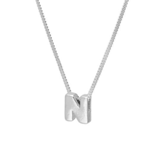 Sterling Silver Alphabet Letter Threader Bead 16+2 Inch Necklace N