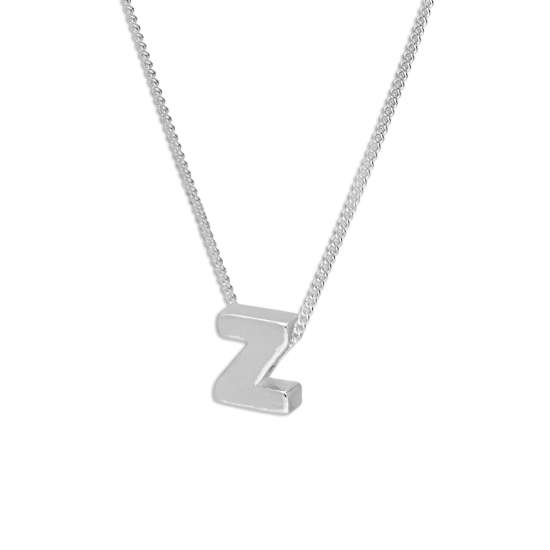 Sterling Silver Alphabet Letter Threader Bead 16+2 Inch Necklace Z