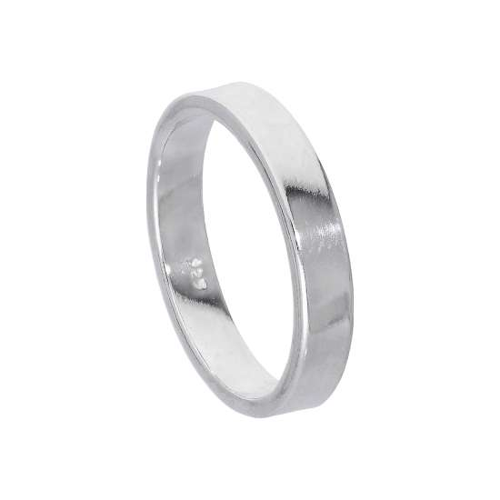 Sterling Silver 4mm Flat Comfort fit Wedding Band Ring Size I - Z