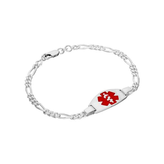 Sterling Silver Mens & Womens Medical Alert ID Bracelet with Large Oval Engravable Plate 7 - 8 Inches