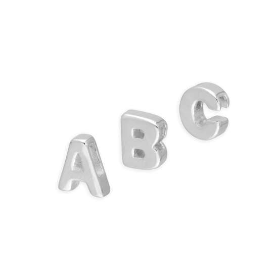 Sterling Silver Alphabet Letter Threader Bead A - Z