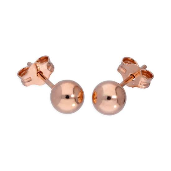 Rose Gold Plated Sterling Silver Lightweight 5mm Ball Stud Earrings