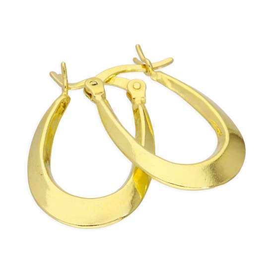 Yellow Gold Plated Sterling Silver Long Plain Loop Creole 13mm Hoop Earrings