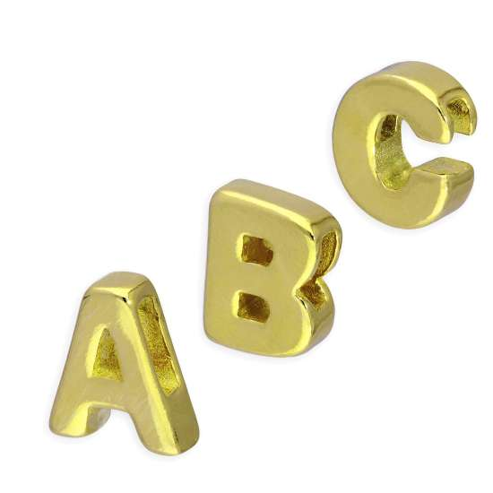 Gold Plated Sterling Silver Alphabet Letter Threader Bead Charm A - Z