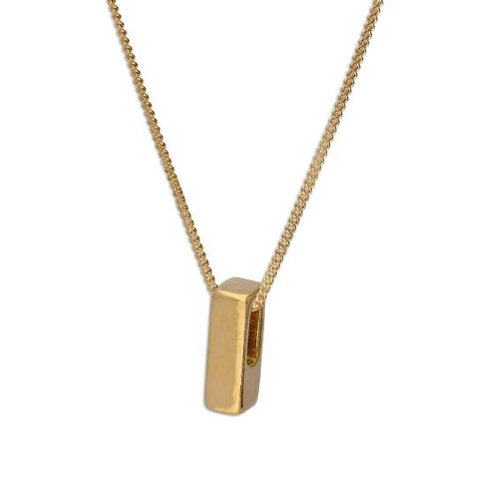 Gold Plated Sterling Silver Threader Letter I Bead Necklace 16 - 22 Inches