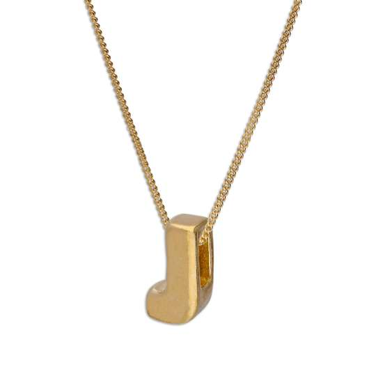 Gold Plated Sterling Silver Threader Letter J Bead Necklace 16 - 22 Inches