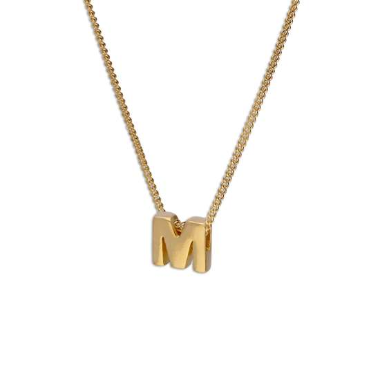 Gold Plated Sterling Silver Threader Letter M Bead Necklace 16 - 22 Inches