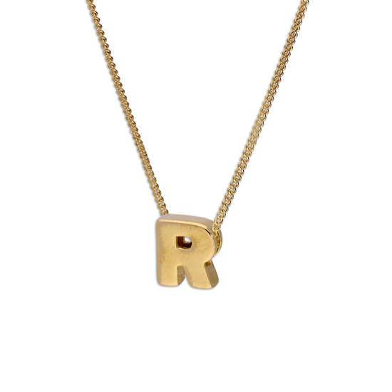 Gold Plated Sterling Silver Threader Letter R Bead Necklace 16 - 22 Inches