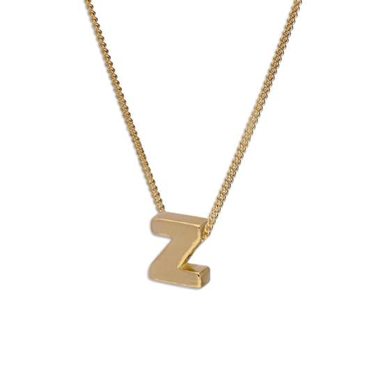 Gold Plated Sterling Silver Threader Letter Z Bead Necklace 16 - 22 Inches