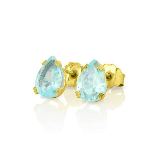 9ct Gold & Pear Shaped Sky Blue Topaz Gemstone Stud Earrings
