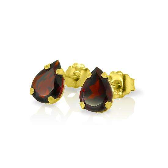 9ct Gold & Pear Shaped Garnet Gemstone Stud Earrings