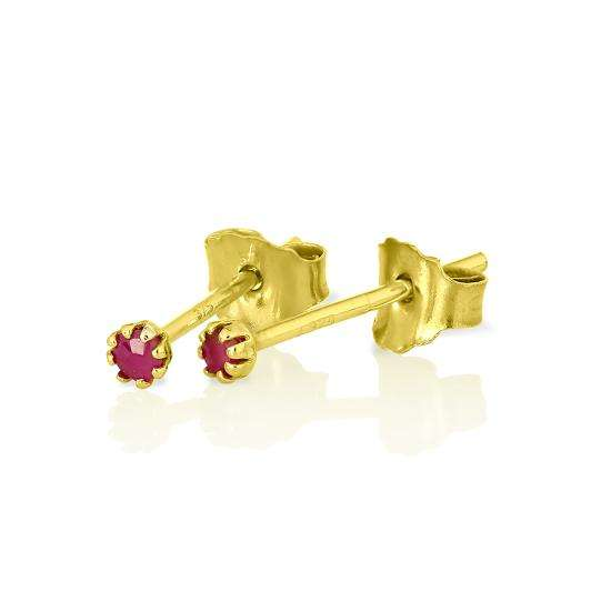 9ct Gold & Ruby Gemstone 2mm Round Stud Earrings
