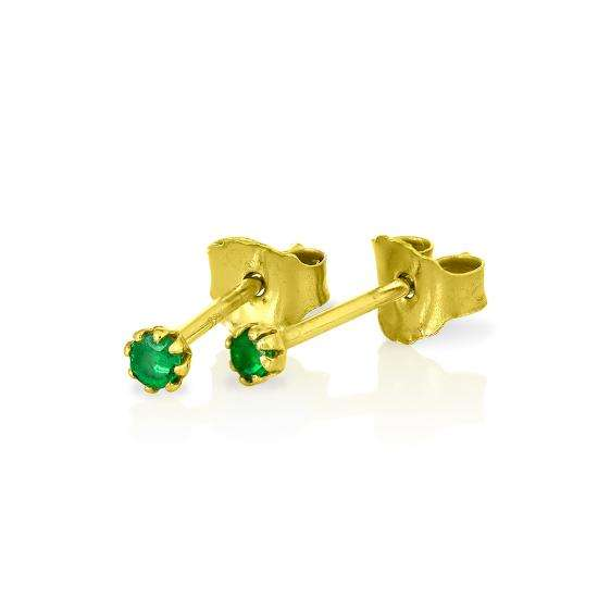 9ct Gold & Emerald Gemstone 2mm Round Stud Earrings