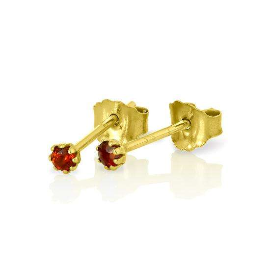 9ct Gold & Garnet Gemstone 2mm Round Stud Earrings