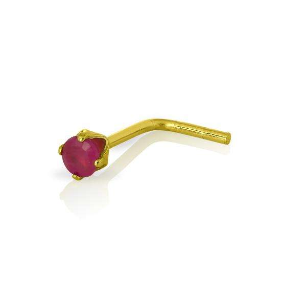 9ct Gold & 2mm Round Ruby Gemstone L-Shaped Nose Pin