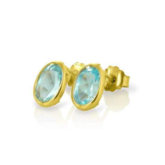 9ct Gold & 6mm Oval Sky Blue Topaz Gemstone Stud Earrings