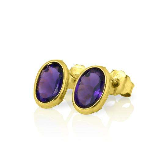 9ct Gold & 6mm Oval Amethyst Gemstone Stud Earrings