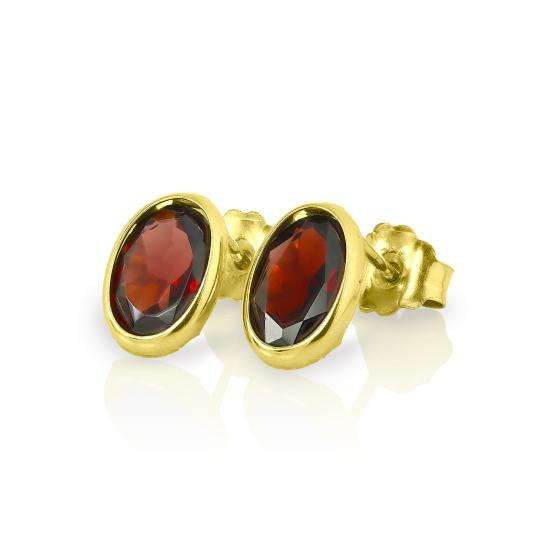 9ct Gold & 6mm Oval Garnet Gemstone Stud Earrings