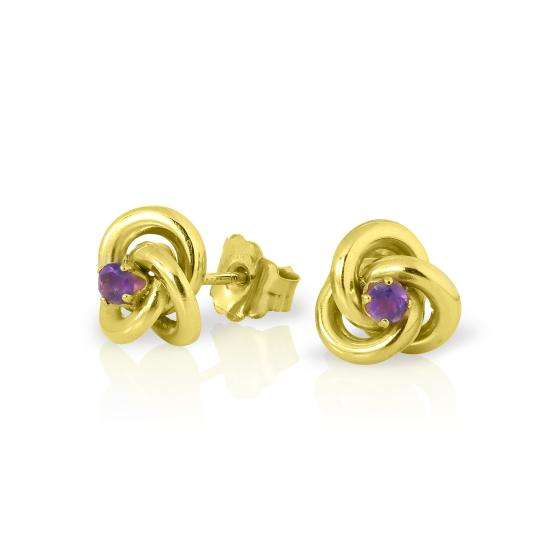 9ct Gold Knot Stud Earrings with 2mm Amethyst Gemstones