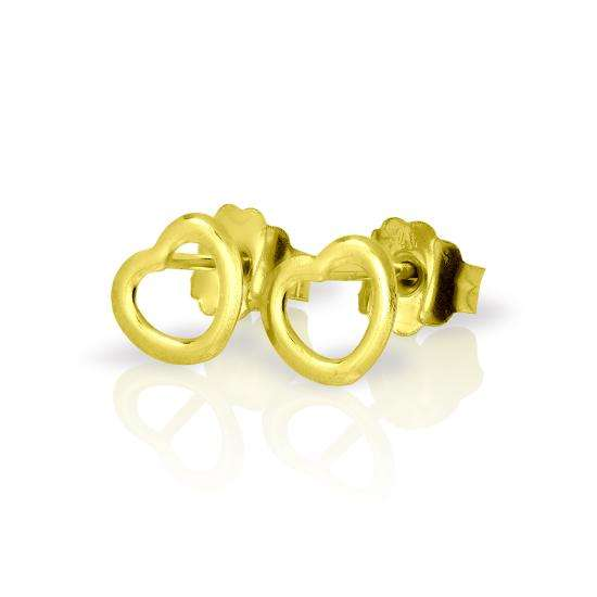 9ct Gold Small Open Heart Stud Earrings