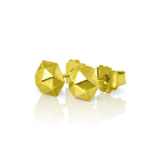 9ct Gold Faceted Dome Stud Earrings