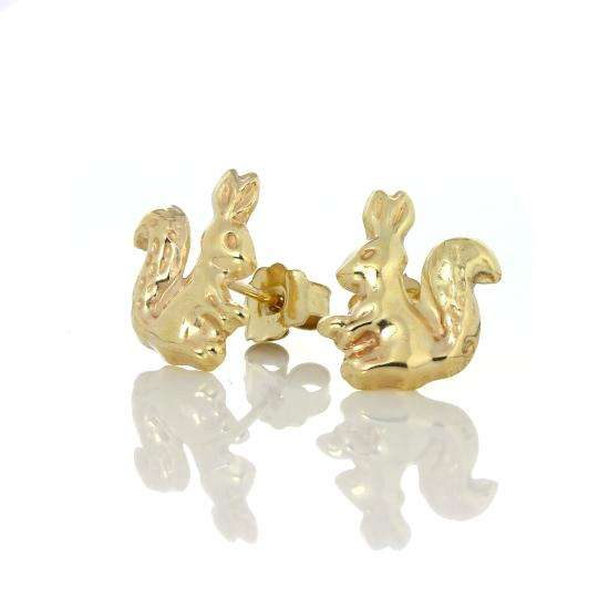 9ct Gold Squirrel Stud Earrings