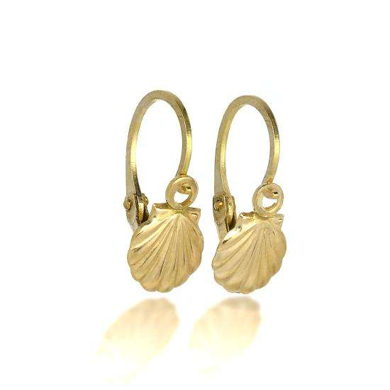 9ct Gold Sea Shell Leverback Earrings