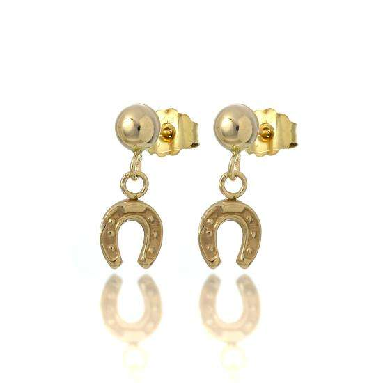 9ct Gold Horse Shoe Drop Stud Earrings