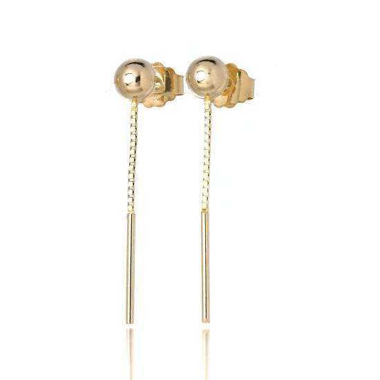 9ct Gold 20mm Bar & Chain Drop Stud Earrings