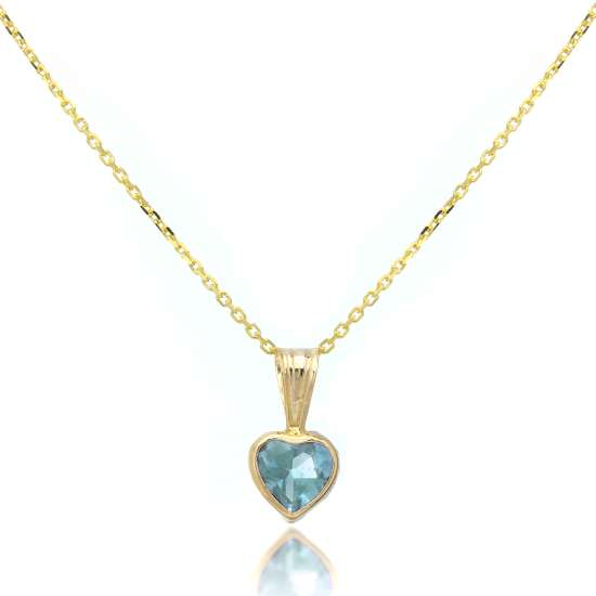 9ct Gold Gemstone Heart Pendant Sky Blue Topaz