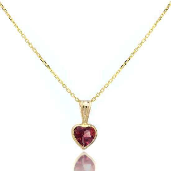 9ct Gold Gemstone Heart Pendant Garnet